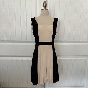 BCBG Black & Cream Pleated Dress